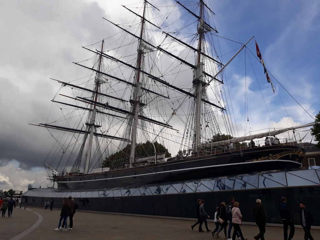 A photo of the Cutty Sark in its dry dock in Greenwich.