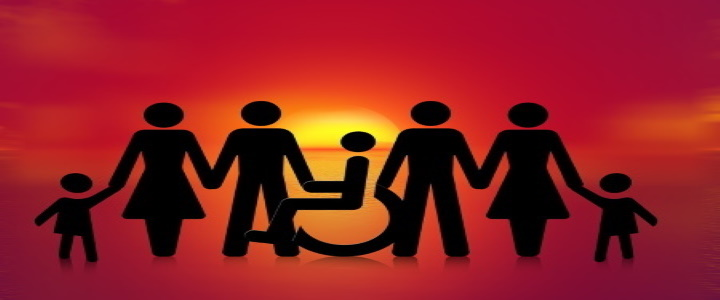 Silhouettes of people in a line, all holding hands - child, woman, man, person in a wheelchair, man, woman, child. Behind them, the sun is rising.
